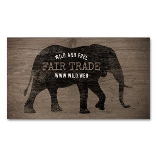 Cartão De Visitas Magnético Estilo rústico da silhueta do elefante africano