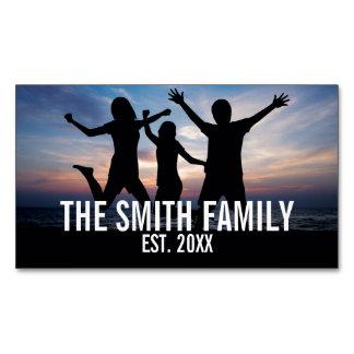 Cartão De Visitas Magnético Foto de família personalizada com nome de família