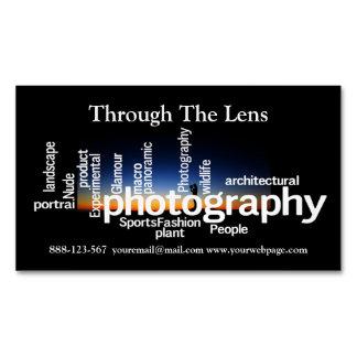 Cartão De Visitas Magnético Fotógrafo do nascer do sol da tipografia da