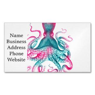 Cartão De Visitas Magnético Ilustração do polvo - vintage - kraken