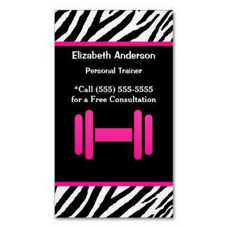 Cartão De Visitas Magnético Instrutor pessoal na moda do Dumbbell cor-de-rosa