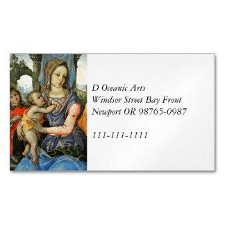 Cartão De Visitas Magnético Madonna e criança com St Joseph e um anjo