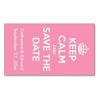 Cartão De Visitas Magnético Mantenha a calma e salvar o cor-de-rosa e o branco