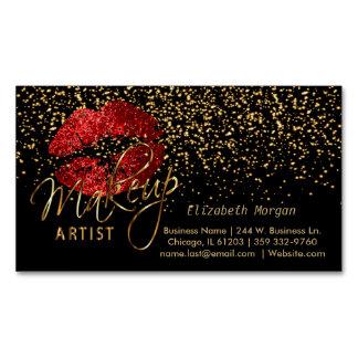 Cartão De Visitas Magnético Maquilhador com confetes do ouro & os lábios
