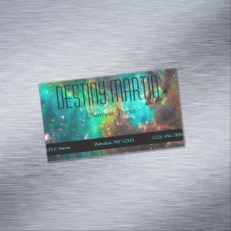 Cartão De Visitas Magnético Metafísico verde do Aqua