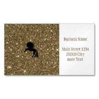 Cartão De Visitas Magnético ouro sparkling do unicórnio
