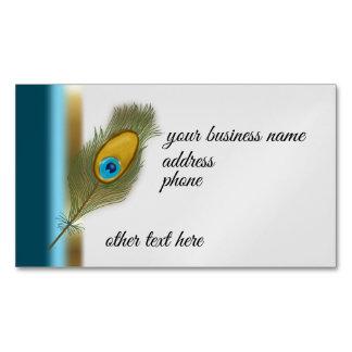 Cartão De Visitas Magnético Pena do pavão e azul e banda coloridos do ouro