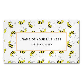 Cartão De Visitas Magnético Pequenos bonitos Bumble o teste padrão da abelha