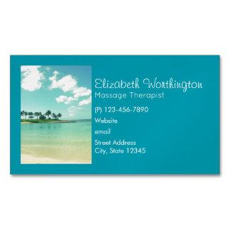 Cartão De Visitas Magnético Praia tranquilo e sereno de turquesa em Havaí