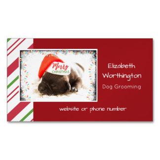 Cartão De Visitas Magnético Pug festivo no chapéu vermelho do papai noel com