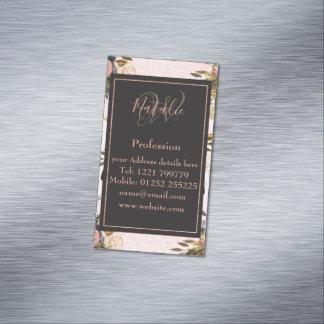 Cartão De Visitas Magnético Rosas românticos do vintage e design geométrico