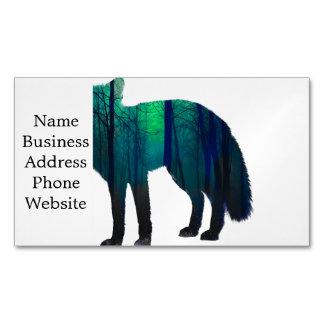 Cartão De Visitas Magnético Silhueta do Fox - raposa da floresta - arte da