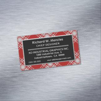 Cartão De Visitas Magnético Tartan branco vermelho de Menzies do clã escocês