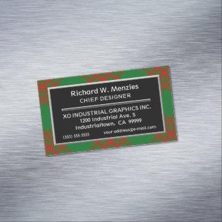 Cartão De Visitas Magnético Tartan escocês da caça de Menzies do clã do acento