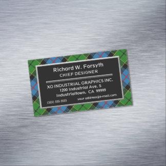 Cartão De Visitas Magnético Tartan escocês de Forsyth do clã do acento