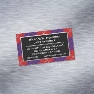Cartão De Visitas Magnético Tartan escocês de Hamilton do clã do acento