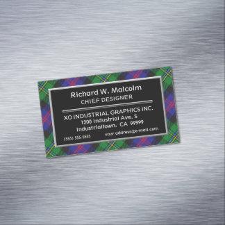 Cartão De Visitas Magnético Tartan escocês de Malcolm do clã do acento