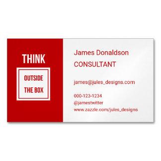 Cartão De Visitas Magnético Vermelho moderno profissional do consultante