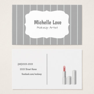 Cartão De Visitas Makeup Artist Business Card Grey