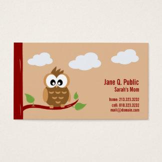 Cartão De Visitas Mamães da coruja chamada bonito