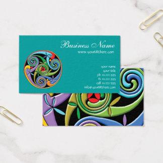 Cartão De Visitas Mandala celta bonita com redemoinhos coloridos