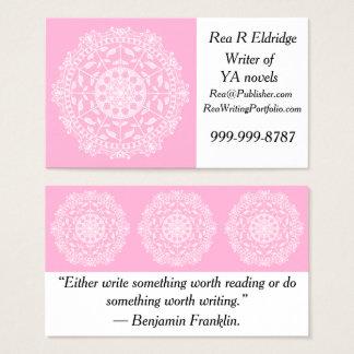Cartão De Visitas Mandala cor-de-rosa