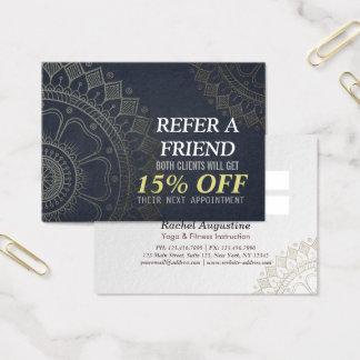 Cartão De Visitas Mandala do ouro da referência do instrutor da