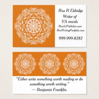 Cartão De Visitas Mandala do tarte de abóbora