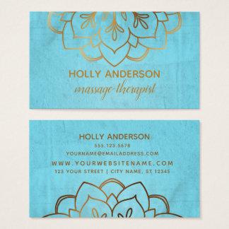 Cartão De Visitas Mandala elegante da folha de ouro do falso com
