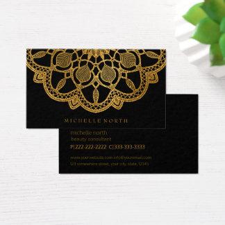 Cartão De Visitas Mandala elegante ID353 do ouro