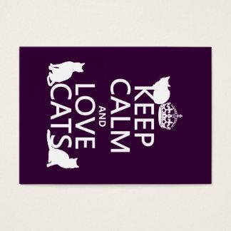 Cartão De Visitas Mantenha a calma e ame gatos (em alguma cor)