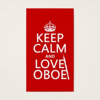 Cartão De Visitas Mantenha a calma e ame Oboe (alguma cor do fundo)