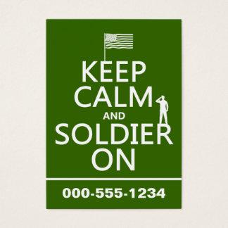 Cartão De Visitas Mantenha a calma e o soldado em (bandeira) dos