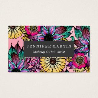 Cartão De Visitas Mão vibrante floral flores ilustradas tiradas