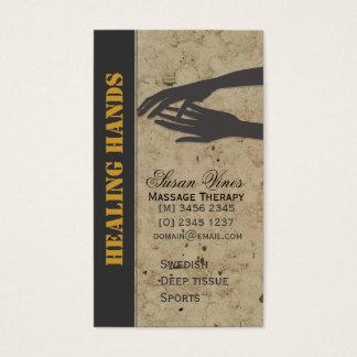 Cartão De Visitas Mãos curas da terapia da massagem