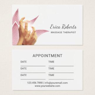 Cartão De Visitas Mãos curas da terapia da massagem & nomeação de
