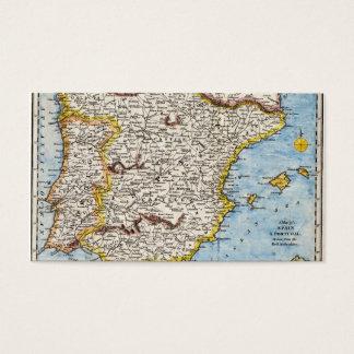 Cartão De Visitas Mapa antigo da espanha & do Portugal cerca dos