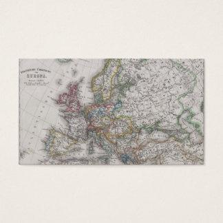 Cartão De Visitas Mapa antigo de Europa cerca de 1862