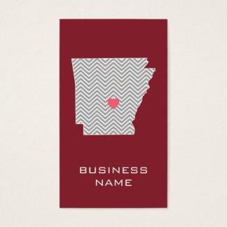 Cartão De Visitas Mapa do estado de Arkansas com coração e nome