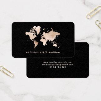 Cartão De Visitas Mapa do mundo claro do ouro do falso no preto