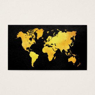 Cartão De Visitas Mapa do mundo (ouro)