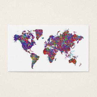 Cartão De Visitas Mapa do mundo, pintura da ação