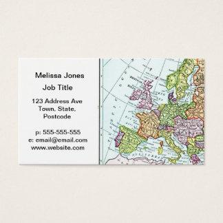 Cartão De Visitas Mapa do vintage de pastels coloridos de Europa
