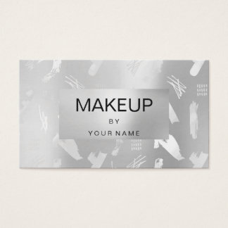 Cartão De Visitas Maquilhador abstrato metálico das cinzas de prata