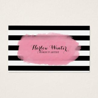 Cartão De Visitas Maquilhador chique do branco do preto do rosa das