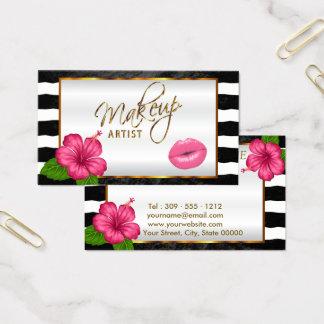 Cartão De Visitas Maquilhador com lábios e a flor cor-de-rosa