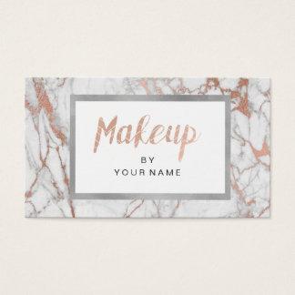 Cartão De Visitas Maquilhador cor-de-rosa do branco da prata do