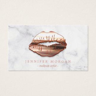 Cartão De Visitas Maquilhador cor-de-rosa dos lábios do ouro 3D do