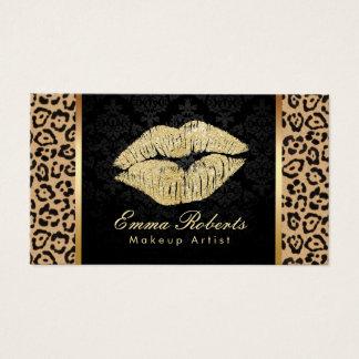 Cartão De Visitas Maquilhador do damasco do impressão do leopardo do