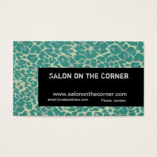 Cartão De Visitas Maquilhador elegante do leopardo verde do puma
